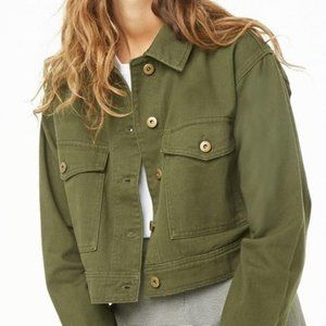 Forever 21 Army Green Cropped Jacket w/Hood